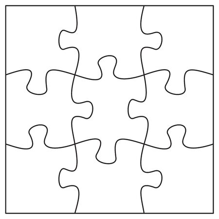 9 jigsaw pieces template. Nine puzzle pieces connected together. Jigsaw or puzzle elements template. Flat vector illustration