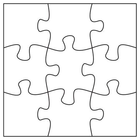 9 Puzzleteile Vorlage. Neun Puzzleteile miteinander verbunden. Vorlage für Puzzle- oder Puzzleelemente. Flache Vektorillustration