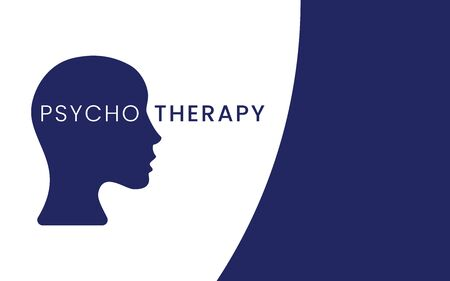 Female head silhouette with word psychotherapy inside. Mental health, treatment, psychology concept. Applicable for banners, posters, web pages.Flat vector illustration Vektorové ilustrace