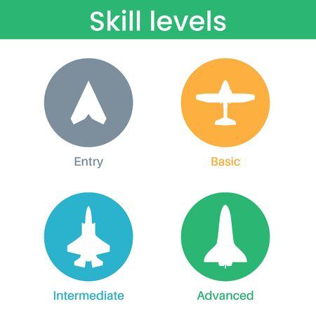 Iconos de nivel de pericia, competencia, habilidad o experiencia. Avión, siluetas de aviones. Niveles de competencias laborales. Camino hacia el éxito o la meta. Símbolos básicos, medios avanzados y expertos. Ilustración vectorial plana Ilustración de vector