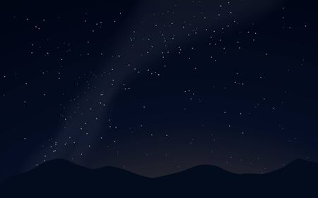 Night starry sky background. Realistic night sky background. Milky way with stars. Mountains silhouette. Vector illustration