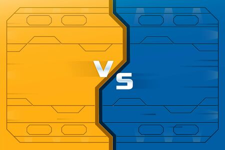 Vs background with futuristic space door. Background for cyber sport competition, fight, game, championship. Player or team versus another. Yellow and blue color. Vector illustration