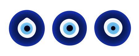 Evil eye protection signs. Turkish amulet. Fatima eye. Glass islamic, arabian or turkish amulet. Gradient icon. Set of glass nazars. Vector illustration