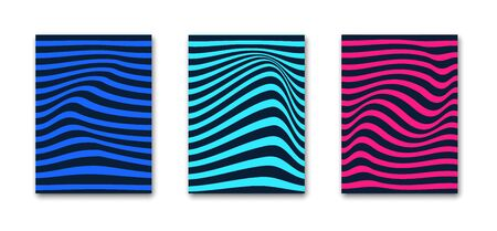 Abstract design with optical illusion stripe pattern. Curves in 3d. Applicable as notebook, magazine, book covers, posters Trendy background. Blue, red, turquoise colors. Vector illustration Reklamní fotografie - 138390407