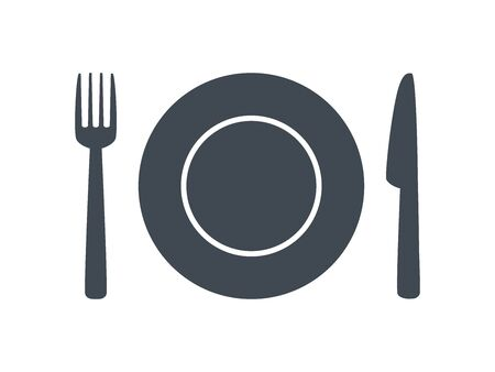 Restaurant symbol. Kitchen glyph icon with knife, fork and plate. Eat or dining icon, sign. Cafe or meal symbol. Lunch, dinner sign. Vector illustration