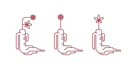 Red korean or chinese ginseng root icons. Ilustracja