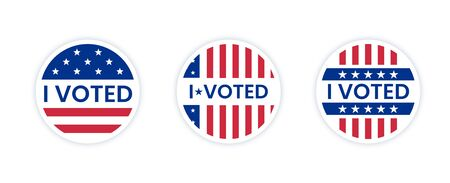 Set of I voted stickers with us american flag. Circle vote sticker or label. US, USA, american election, voting sign. I voted quote. Responsible voting badge or pin. vector illustration Banque d'images - 139596856