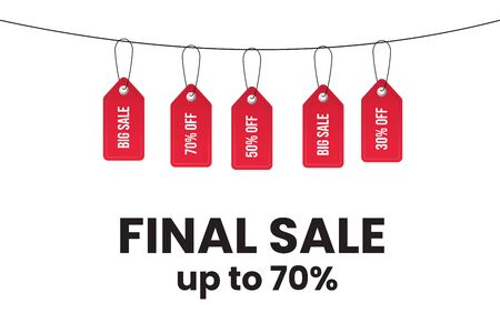 Sale label tags with price discounts hang on the rope as garland. Big final sale concept with sale label - 50,70,30 % discount. Realistic red paper tags. Promo, promotion banner. Vector illustration. Illusztráció