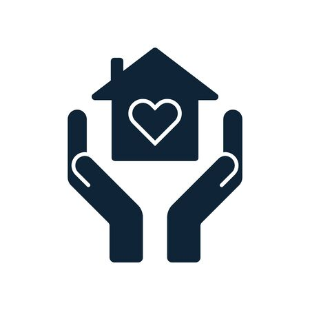Home care concept. Hands holding home with heart inside. Shelter, roof, hospice icon. Estate property sign. House care, insurance symbol. Vector illustration