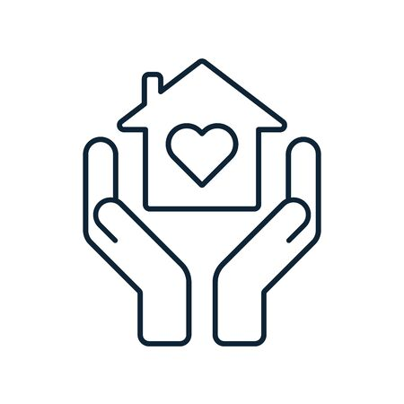 Home care concept. Hands holding home with heart inside. Shelter, roof, hospice icon. Estate property sign. House care, insurance symbol. Outline style. Vector illustration