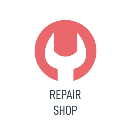 Repair shop  . Wrench or spanner inside circle. Repair service or maintenance concept. Maintenance    icon. Vector illustration