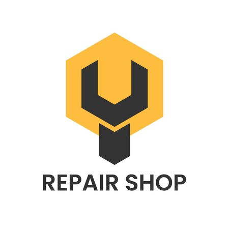 Repair shop  . Wrench or spanner inside hexagon. Repair service or maintenance concept. Maintenance  icon. Vector illustration Ilustracja