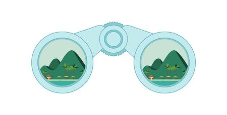 Binocular with hills, mountains and ocean beach inside. Explore and adventures binocular symbol. Hiking, backpacking, wandering, exploring, hitchhiking concept. Vector illustration