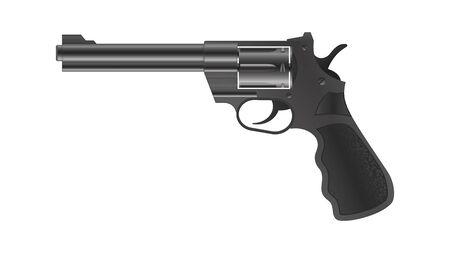 3d realistic revolver gun. Modern gun, handgun on isolated background. Black metal pistol, revolver. Vector illustration