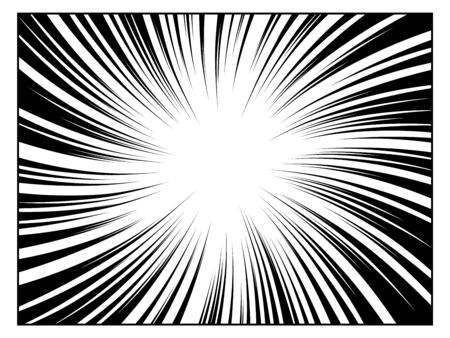 Radial line drawing. Action, speed lines, stripes Illustration