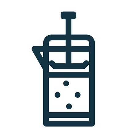 French press icon with coffee or tea inside. French press line symbol. Vector illustration
