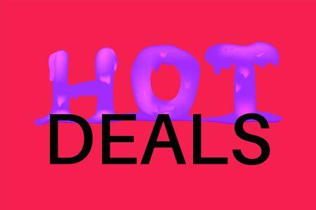 Hot deals banner. Hot price, sale, offer or deal concept. Promotion, banner for marketing campaign. Applicable for sale promo. Line word. 3d render, realistic vector illustration