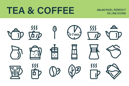 Set of tea or coffee drink icons. Set contains - teapot, cup, mug, coffee beans, tea leaves, french press and other accessories. Applicable for brewing manual. Vector illustration