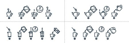 Tea and coffee brewing instruction. Tea, coffee making, brew process icons. Hot drink brew instruction. Cup, mug, kettle, teapot icons. How to make hot drink. Vector illustration