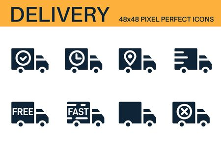 Set of shipping, delivery icons. Delivery status symbols - delivered, shipped, scheduled, on the way, approved, confirmed. Shipping service symbols. Glyph icons. Vector illustration Illustration