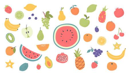 Doodle hand drawn fruits set. Vegan tropical exotic fruits - apple, orange, lemon, blueberry, pomegranate, kiwi, avocado, banana. Vegan, vegetarian nutrition set. Doodle isolated icons. Vector.