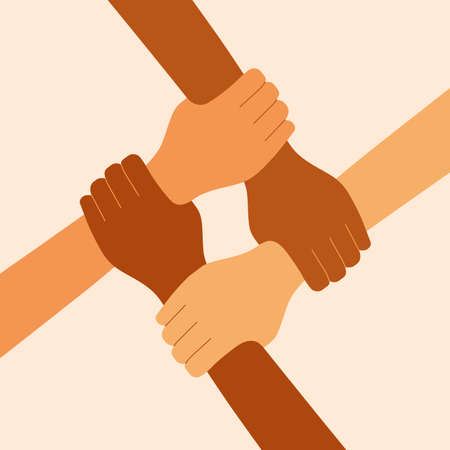 Four diverse hands holding each other. 4 women symbolize women's solidarity, feminism. People connected by hands. People together. National union. Vector illustration