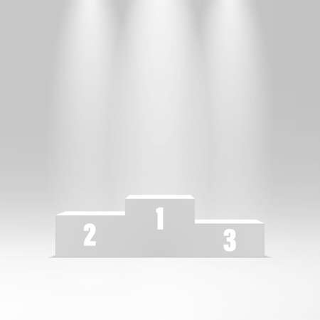 Sport podium illuminated by spotlights. Sport competition pedestal or platform. Victory, success, achievement concept. Podium for winners. Vector illustration Foto de archivo - 151152322