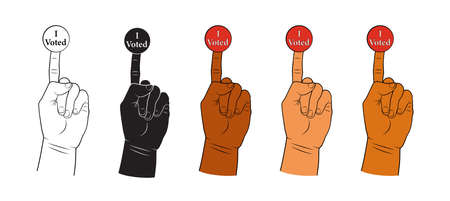 Hand with i voted sticker on the finger. Illustration