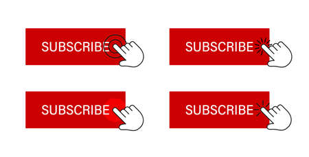 Subscribe button with hand cursor. Subscription process illustration. Illustration