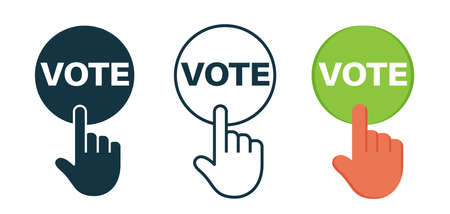 Vote icon in line, glyph and flat styles. Illustration