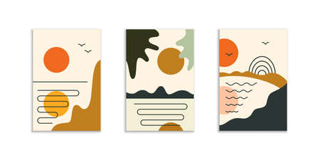 Minimal abstract posters with sun on the sky Illustration