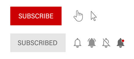 Button, hand and arrow cursor, subscribed button