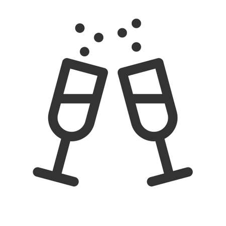 Alcohol drink icon. Wine glass line icon.