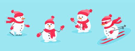 Snowman rejoices, having fun, greets and waves 矢量图像