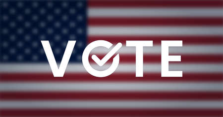 Vote word, appeal on blurred us flag. 矢量图像