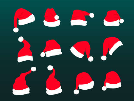 Red santa hat with white fur. Xmas clothing 矢量图像