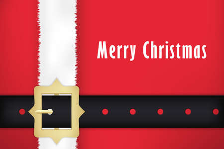 Santa claus belt and coat. Christmas card design.