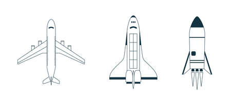 Aircraft, airplane, spaceship, space rocket icon or sign