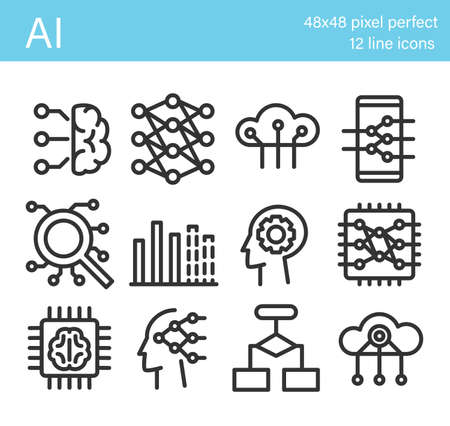 Set of artificial intelligence icons. Artificial brain, neural network Stock Illustratie