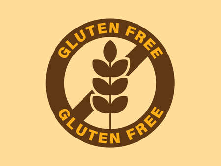 Crossed out sign with wheat ear or wheat spike icon.