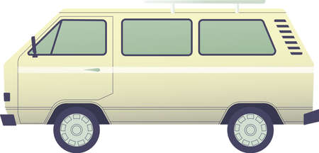 Retro mini van side view.