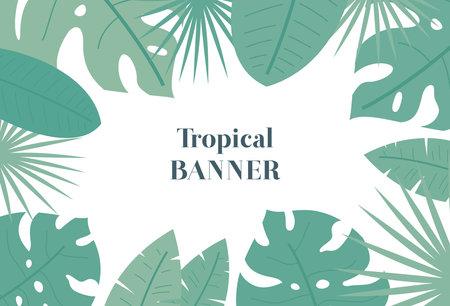 Tropical leaf banner. Exotic or jungle leaf. Illusztráció