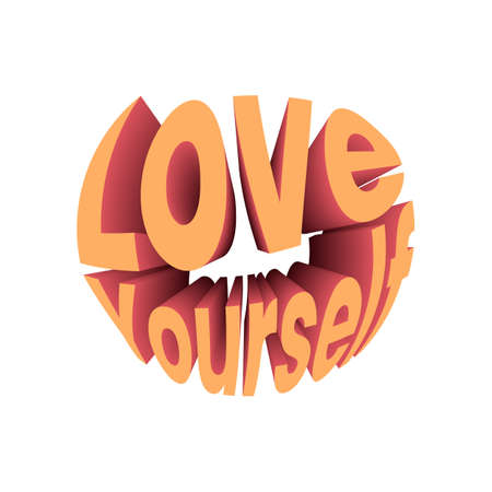 Love yourself quote. Retro style design typography. Illusztráció