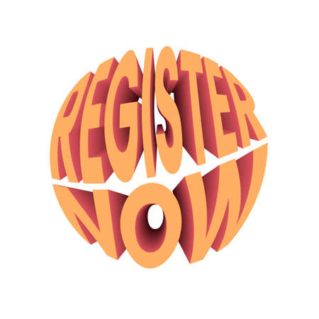Register now text. Retro style design typography.