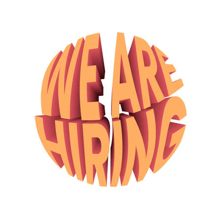 We are hiring text. Retro style design typography.