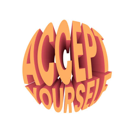 Accept yourself quote. Retro style design typography.