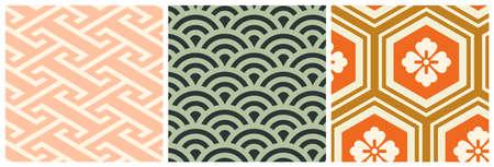 Asian seigaiha seamless pattern with sea waves Illusztráció