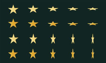 Gold 3d rotating star shape symbols, sign Illusztráció