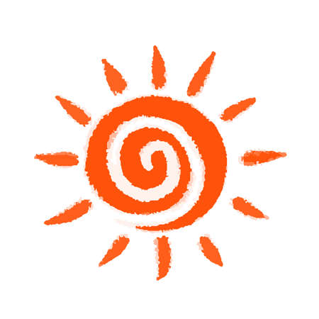 Sun icon as spiral on isolated background
