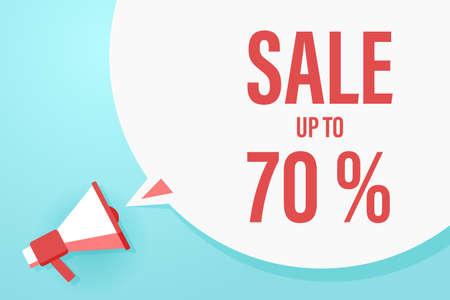 Flat megaphone with speech bubble and phrase - Sale up to 70% Illusztráció